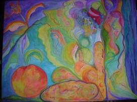 """Beyond Boundaries: Ananda"" 36X50"" acrylic on gallery wrapped canvas, 2005. SOLD"