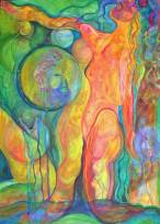 """Beyond Boundaries: Shaman's Breath"" 60X36"" acrylic on gallery wrapped canvas, 2011. $1,500"