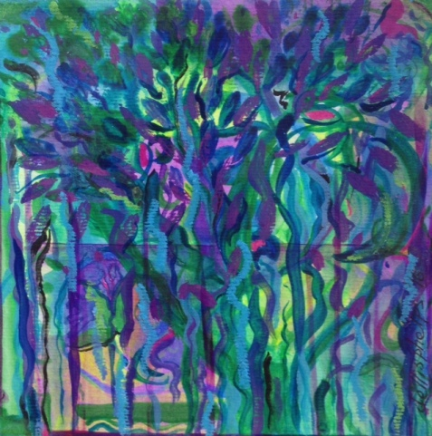 blue woods 6X6 in mm on paper 2016