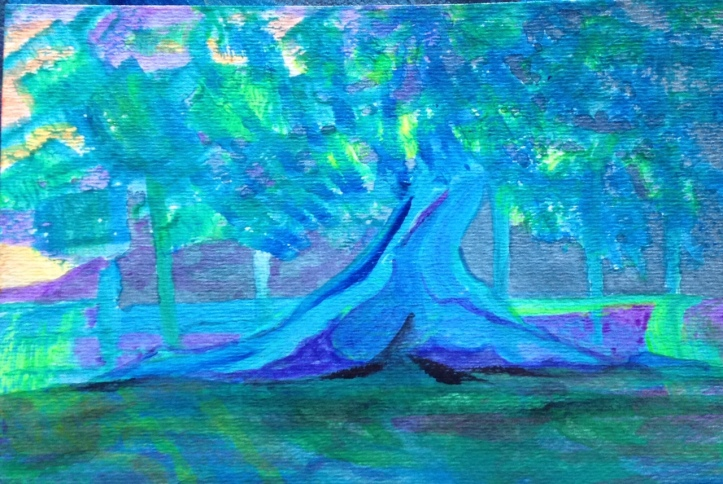 cypress on the guadalupe with spanish moss and sunset 5 by 7 inches acrylic on paper 2017