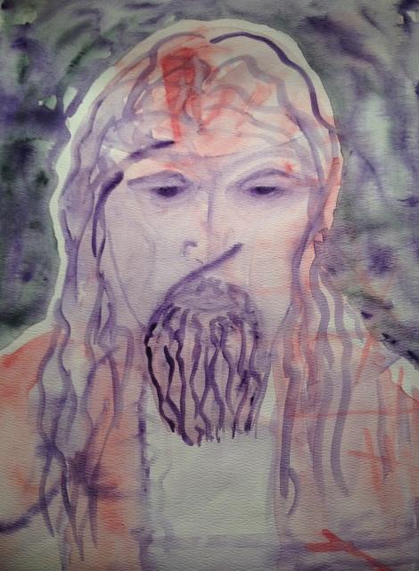 """""""jesu"""" 15X11"""" watercolor on paper unframed, circa 1995.  $150"""