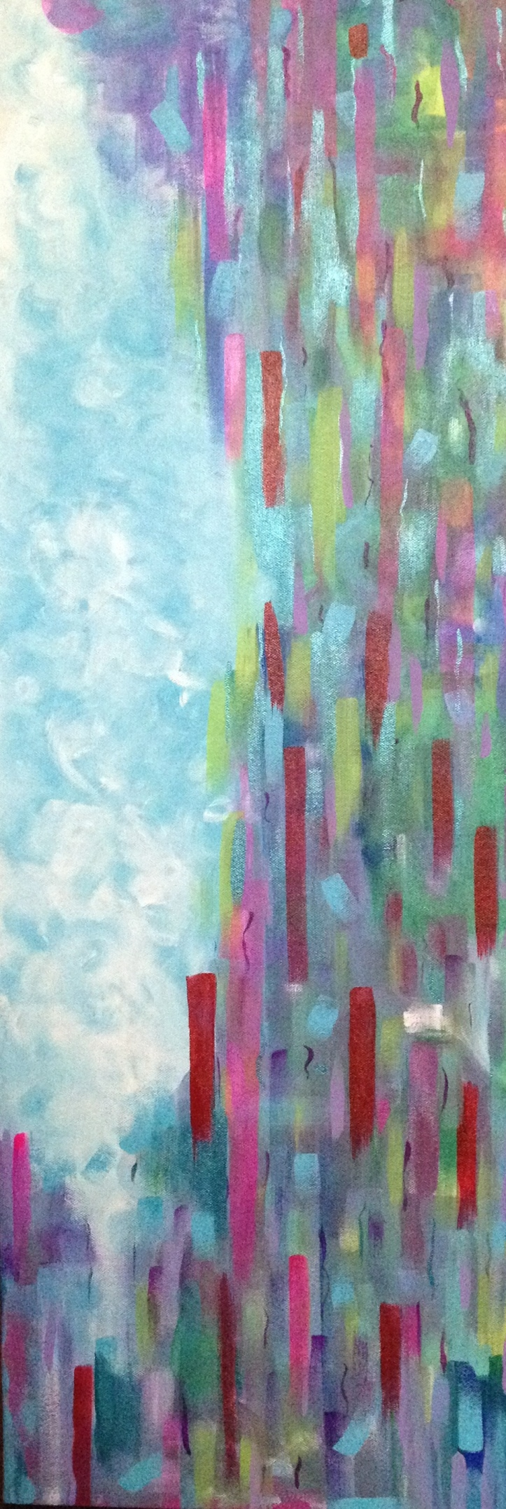 """""""the clearing"""" 36X12 acrylic on canvas 2014"""
