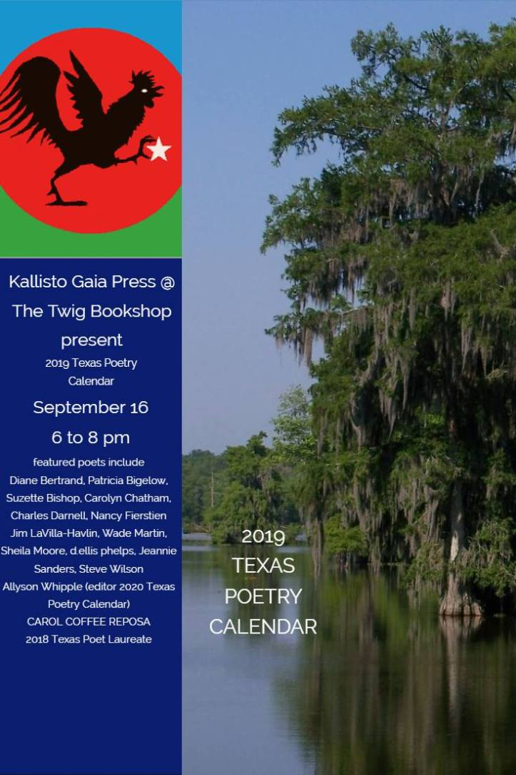 TX Poetry Calendar 2019 at The Twig 9 16 18